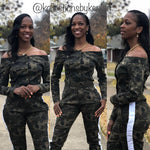 Camo Off Shoulder Cropped Jacket