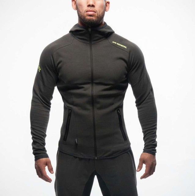 Men Bodybuilding Sweatshirt Muscle Hooded Jackets