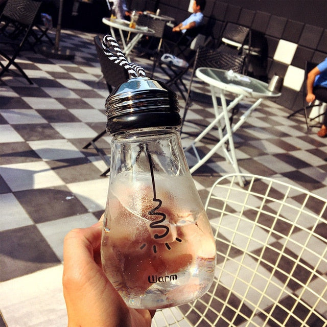 Bulb Glass Bottle With Lid