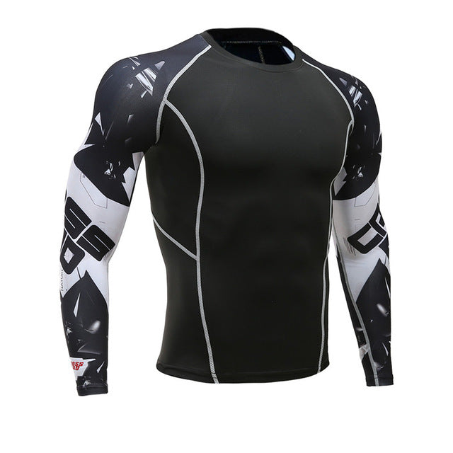 T Shirt Men Bodybuilding Skin Tight Thermal Compression