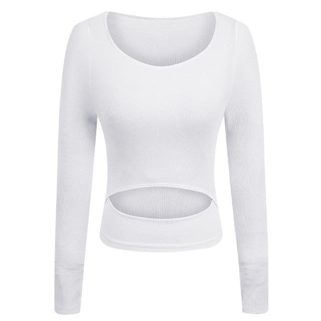 Long Sleeve Midriff Crop Top