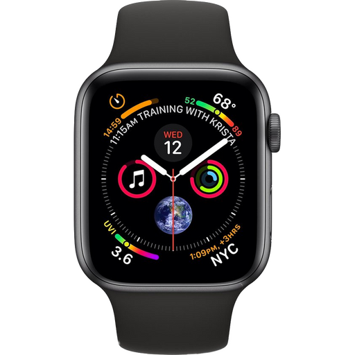 Series 4 40mm Aluminium Space Gray met zwarte sportband