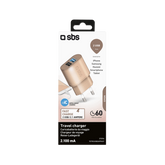 SBS Mobile 2-Poorts USB A Thuislader 2.10 A / 1A - Rose Goud