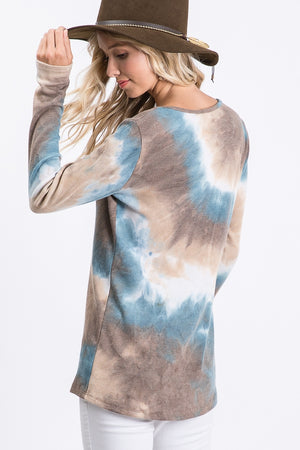 Tie Dye Henley Long Sleeve Top