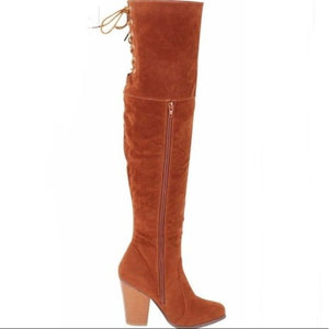 Tan Suede Lace Up Over the Knee Boot