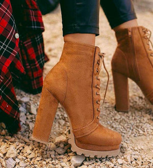Tan Lace Up Platform Combat Bootie