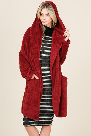 Fuzzy Hooded Cardigan