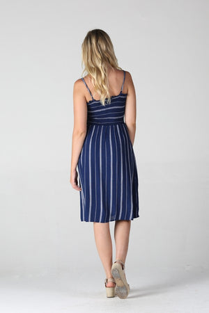 Navy Striped Midi Smocked Sundress