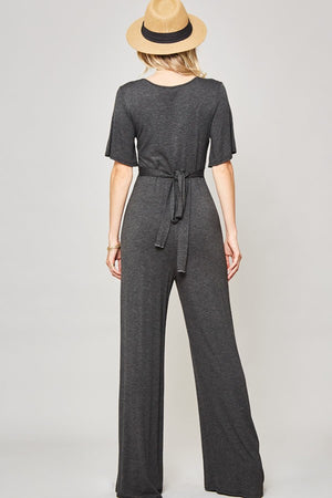 Gray V-Neck Jumpsuit