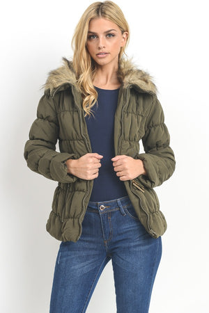 Belted Faux Fur Collar Puffer Coat