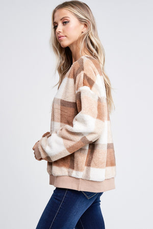 Plaid Faux Fur Pullover Sweater