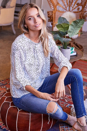 White Polka Dot Mock Neck Blouse