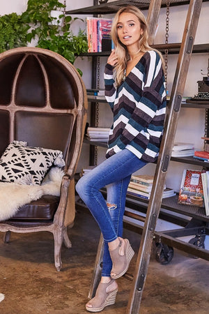V-Neck Striped Knit Oversized Sweater