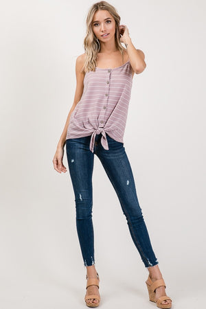 Striped Front Tie Tank Top
