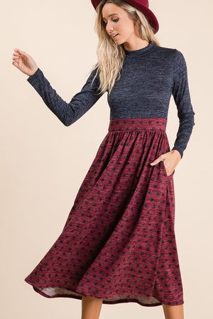 Mock Neck Long sleeve Polka Dot Midi Dress