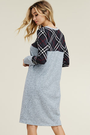 Gray Plaid Midi Dress