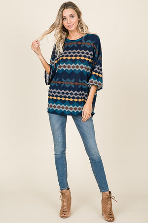Oversized Aztec Pattern Knit Sweater