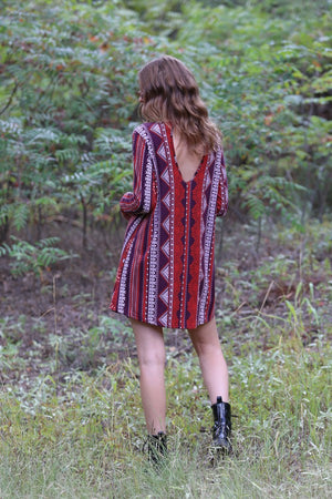 Boho Red Geo Print Long Sleeve Dress