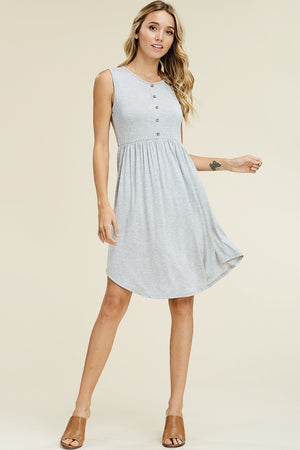 Gray Sleeveless Button Midi dress