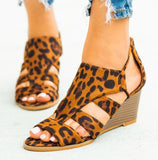 Cutout Leopard Print Wedge