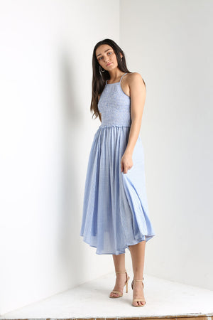Blue Striped Smocked Hanky Hem Midi Dress