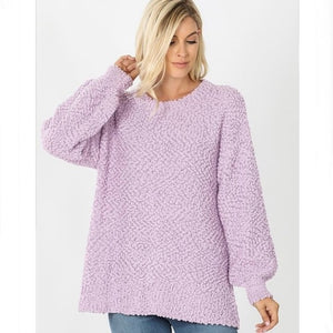 Popcorn Bell Sleeve Sweater