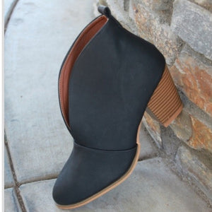 Black V Cut Block Heel Bootie