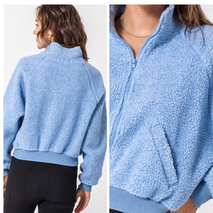 Baby Blue Cropped Teddy Bear Bomber Jacket