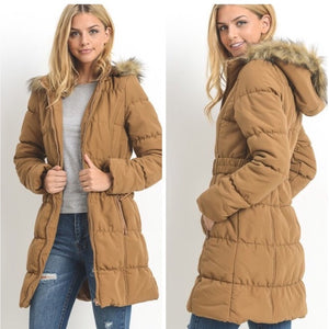 Navy Long Belted Hooded Puffer Coat
