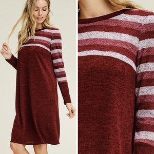 Burgundy Midi Knit Dress
