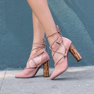 Blush Lace Up Heel