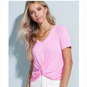 Pink Front Twist Crop Top