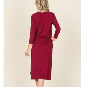 Burgundy DrawString Midi Dress
