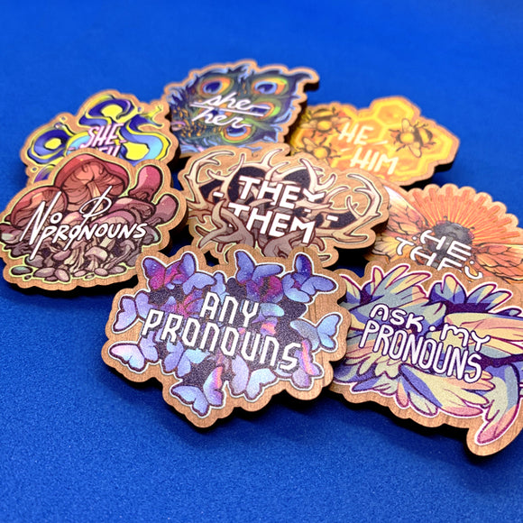Wooden Pronoun Pins