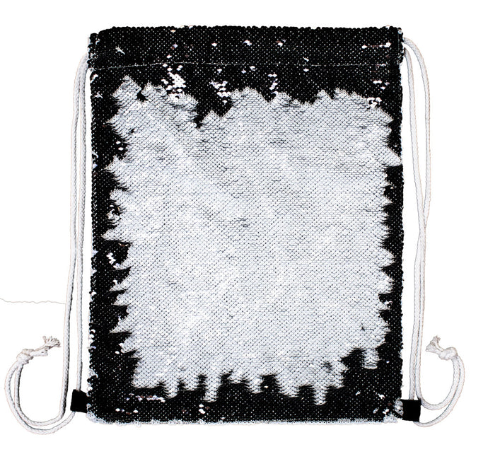 Black Sequinned Drawstring Back Pack--customize BOTH sides!