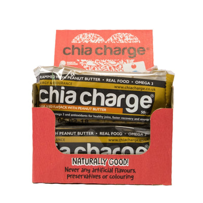 Chia Charge Bars Latest EDITION  - Peanutty Flapjacks Plain and Cocoa  Peanut Flapjacks 10 + 2 EXTRA FREE