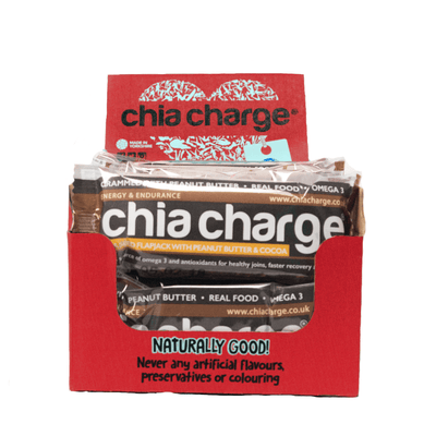 Chia Charge Bars Peanut Butter Flapjacks and Cocoa  Peanut Flapjacks 10 + 2 FREE