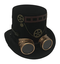 Gentleman's Black Top Hat with Goggles, Gears, and Ribbon