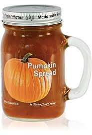 Pumpkin Spread, 16 oz mason jar with handle, dessert topping party spice mix