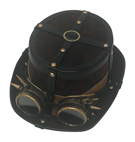 Brown Top Hat with Spiked Goggles and Black Trim
