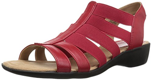 LifeStride Women's Toni Flat Sandal, red, 9 W US