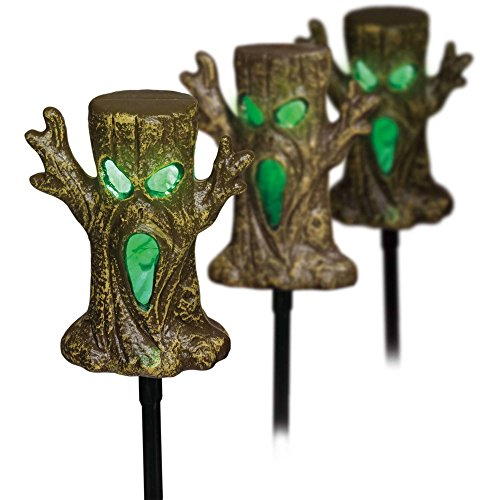 Light Up Spookie Trees Lawn Stakes Halloween Yard Decorations - LED Lights and Sound Sensor - set of 3 Trees