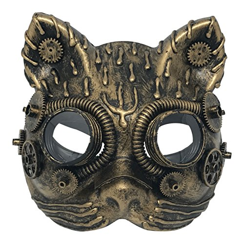 Steampunk Costume Cat Mask Vintage Copper Goggles & Gears Victorian Gothic Accessories