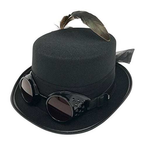 Black Top Hat with Goggles and Feather
