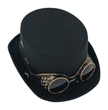 Black Top Hat with Goggles & Gears