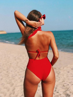 MESH SWIMSUIT PERSPECTIVE STITCHING LADIES ONE-PIECE SWIMSUIT