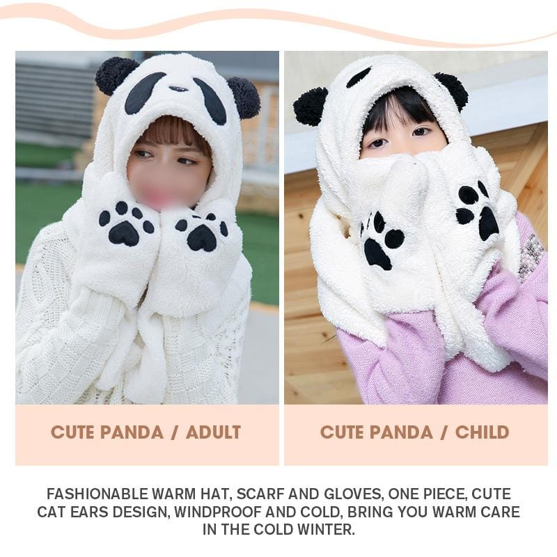 Panda Hat Gloves Scarf Three-piece
