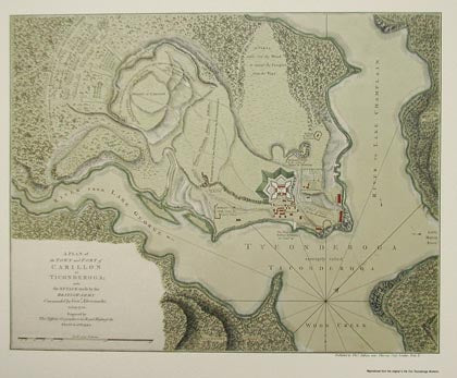 image of 18th-century map showing Lake champlain and Fort Ticonderoga