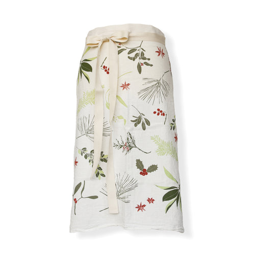 natural color apron with prints of red berries and green evergreen leaves