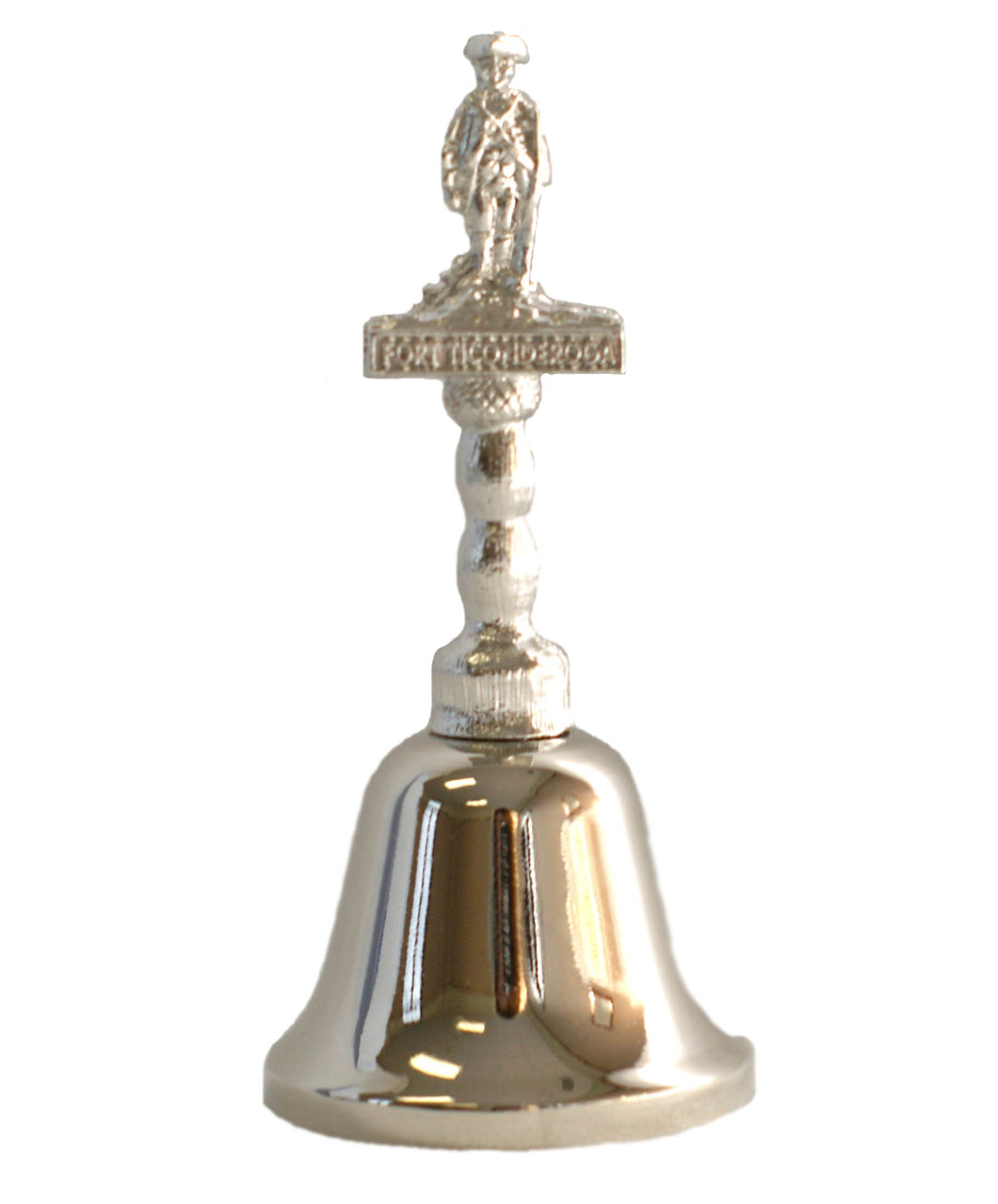 silver bell with small solider on top on white background